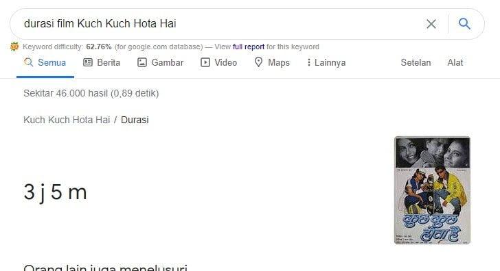 durasi film Kuch Kuch Hota Hai