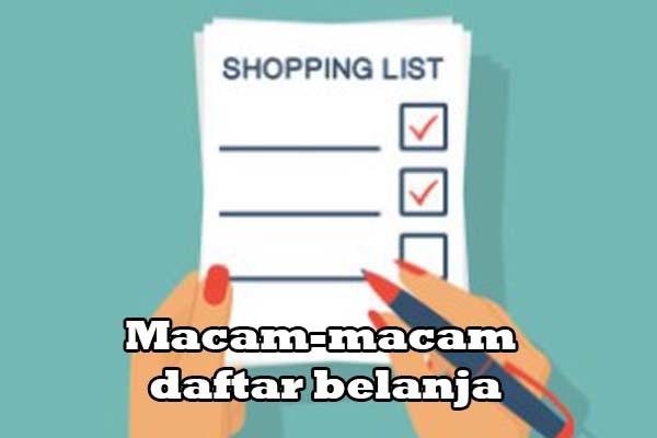 Macam-Macam Daftar Belanja